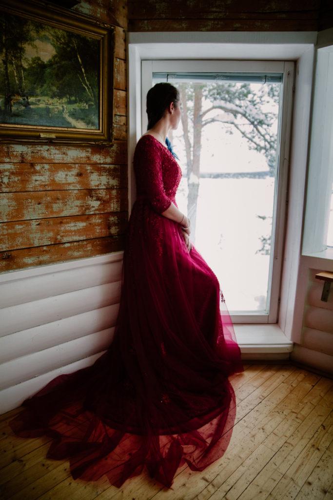 wedding photography red dress destination lapland