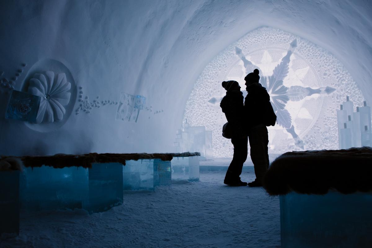 destination wedding couple lovers icehotel