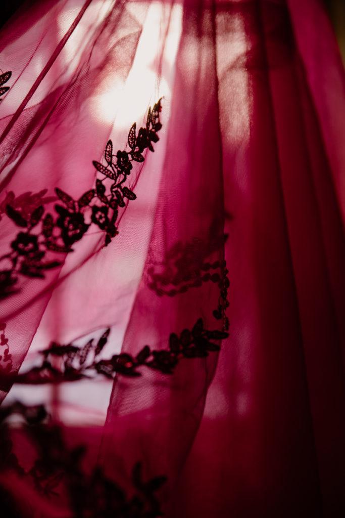 destination wedding lapland wedding red dress details