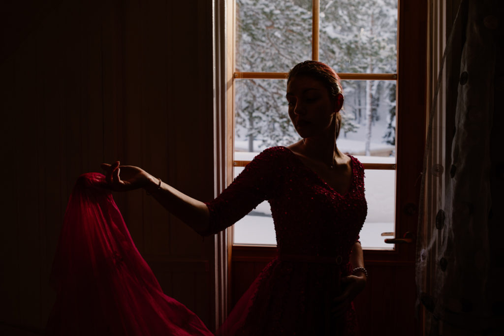 bride red dress elopement photographer