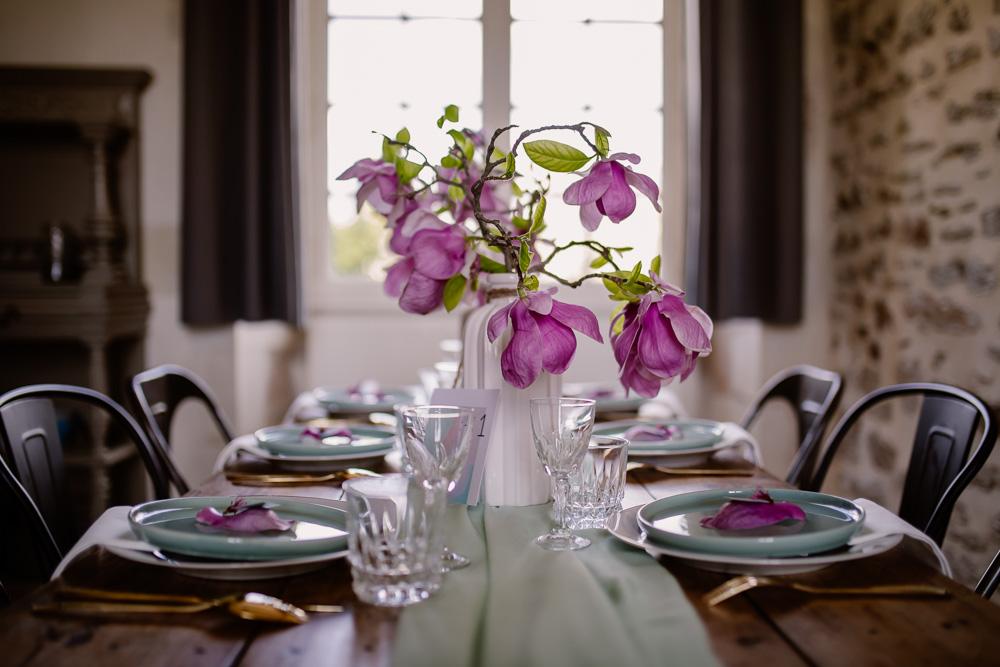 Décoration table mariage Nantes fleurs