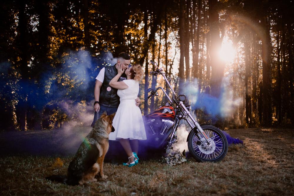 mariage rock biker photographe fumigènes